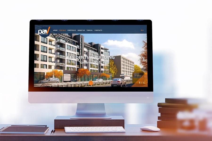Уеб сайт на строителна фирма ПАВ - редизайн